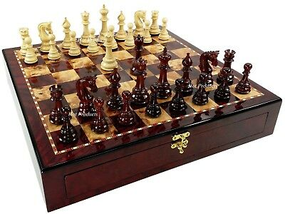 4 QN BUD ROSEWOOD Large Staunton LUXURY Chess Set W/ Cherry Finish Storage Board