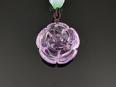 Natural Amethyst Rose Flower Pendant with Woven Necklace