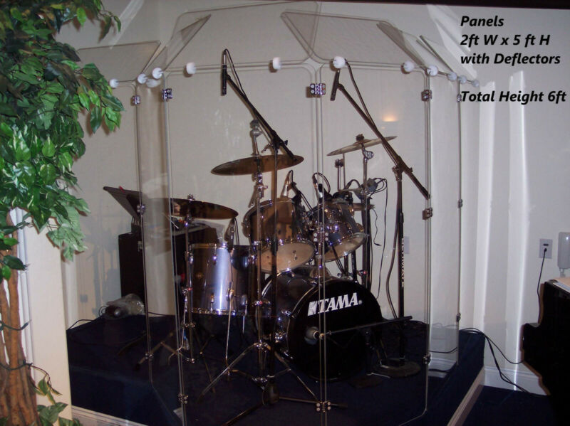 6 Section Drum Shield Panels w/ Deflectors total height 6ft Chrome hinges