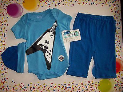 Bon Bebe Outfit 3pc Set  Bodysuit/Bib/Pants Guitar Design Sz 3-6 Mos Medium  NWT
