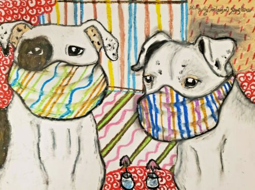 American Bulldog Collectible ACEO PRINT Mini Dog Art Card 2.5 X 3.5 Artist KSAMS