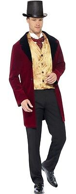 Mens Red Lord Count Posh Aristocrat Earl Duke Velvet Fancy Dress Costume Outfit