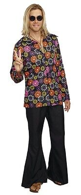 Sixties Flower Power Wide Collar Tunic Mens 60s 1960s Costume Shirt Hippie