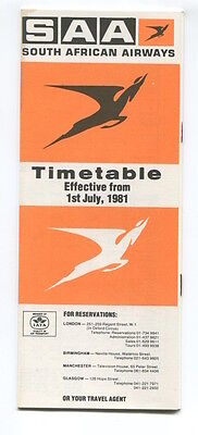 SOUTH AFRICAN AIRWAYS SAA TIMETABLE JULY 1981 SAL