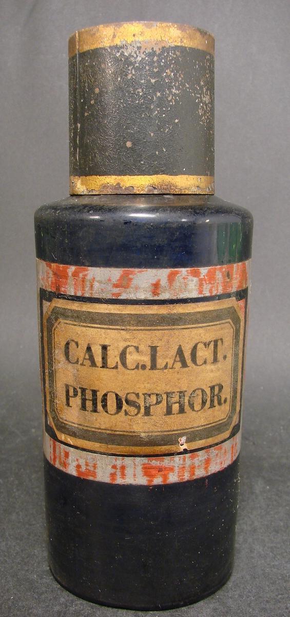 Kobaltblaue Apothekenflasche  CALC.LACT.PHOSPHOR. Frankreich, 19.Jh.