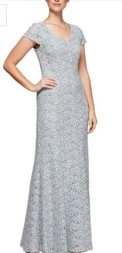 Alex Evenings Long Dress Size 14 Cap Sleeve Stretch Lace Sequin Light Gray MOTB