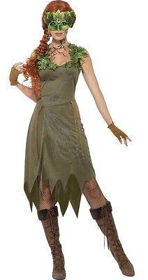 Film-bösewicht Kostüme (Damen Efeu Imp Wald Fee Nymphe Elfe Film Bösewicht Kostüm Kleid Outfit)