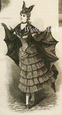 HALLOWEEN VICTORIAN BAT GIRL*QUILT ART FABRIC BLOCK*5X7 INCHES*GREAT ONE - Halloween Bat Arts Crafts
