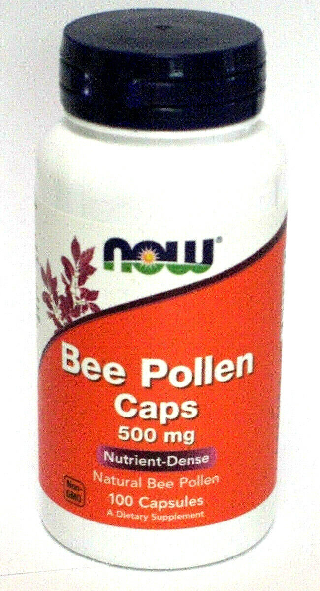Now Natural Bee Pollen 500Mg Nutrient Dense 100 PIlls Capsules Non GMO