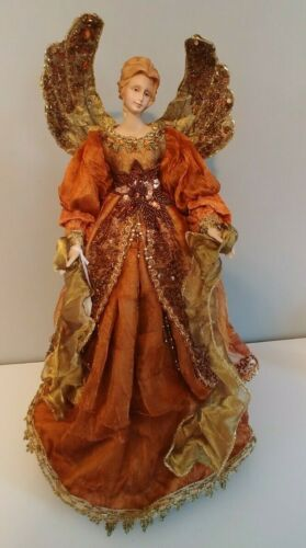 Beautiful Orange and Gold Angel Tree Topper. New w/Tag.