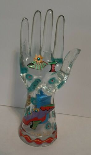 Vintage Clear Glass Jewelry Hand Ring Display Holder Hand Painted Signed