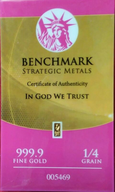 AUTHENTIC BENCHMARK STRATEGIC 1/4 grain 24K GOLD BAR .9999 fine GOLD