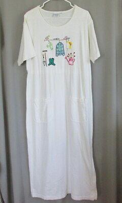 Garden Themed Dress (Johnny Was maxi t-shirt dress size M summer gardening theme mod 100%)