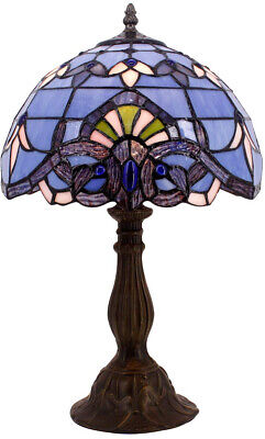 Blue Purple Baroque Tiffany Style Table Lamp Stained Glass Lampshade Antique Baroque Tiffany Style Table