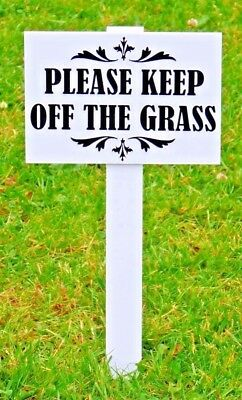 10 x ''Please Keep Off The Grass Sign'' 10mm thick stake Heavy duty ABS