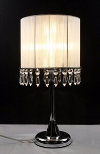 Crystal Chandelier Touch Lamp Table Cafe Bedside Lamp Brass Base White 42cmH