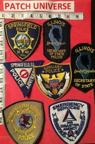 SEVEN DIFFERENT SPRINGFIELD  ILL  POLICE  SHOULDER PATCHES  N137