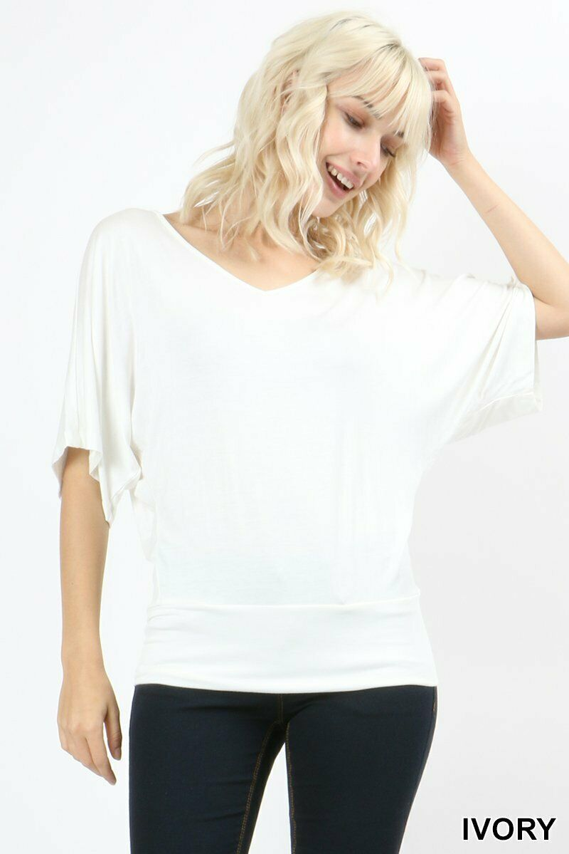 Zenana Drape Dolman Top Banded Hem V Neck Short Sleeve Jersey Kimono S M L Clothing, Shoes & Accessories