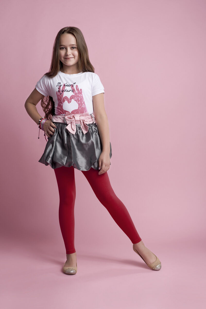 New girls kids children cotton full ankle length leggings ...