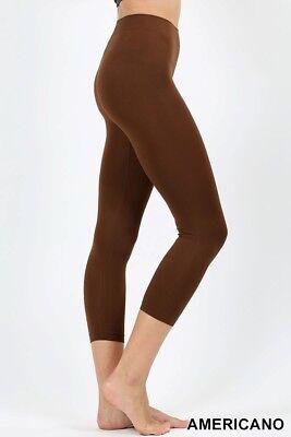 Seamless Capri Leggings - Womens Classic Seamless Capri Leggings 3/4 Nylon Line Detail Sport Regular Plus