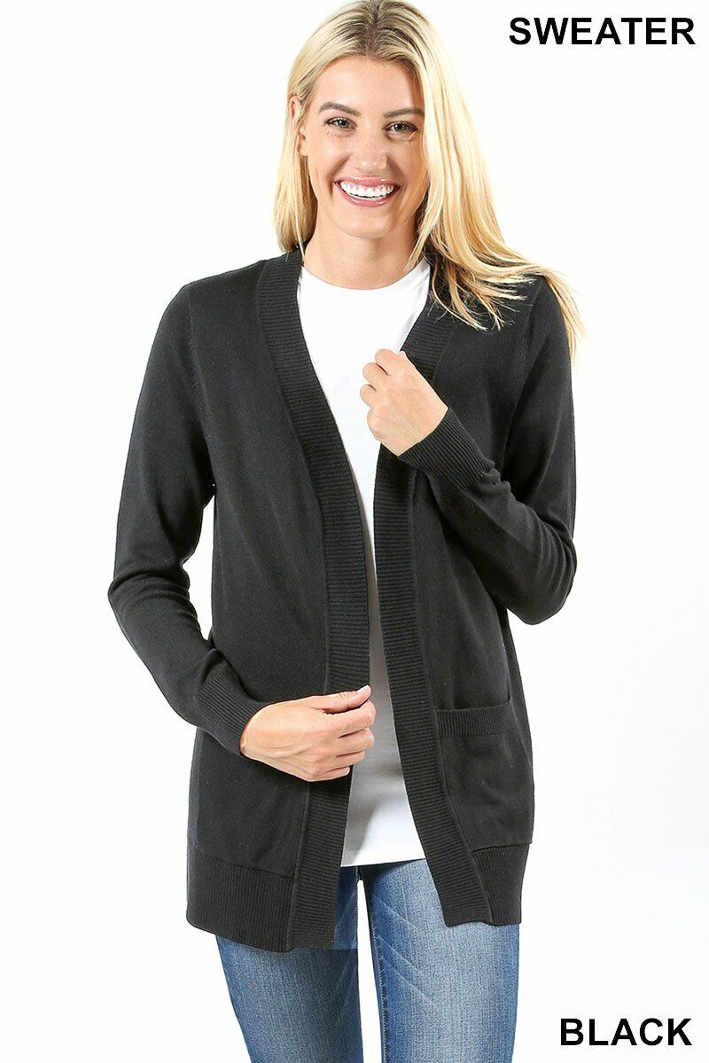 Zenana Open Cardigan Side Pockets Ribbed Closure Hem Cuff Sweater Relaxed Fit Clothing, Shoes & Accessories