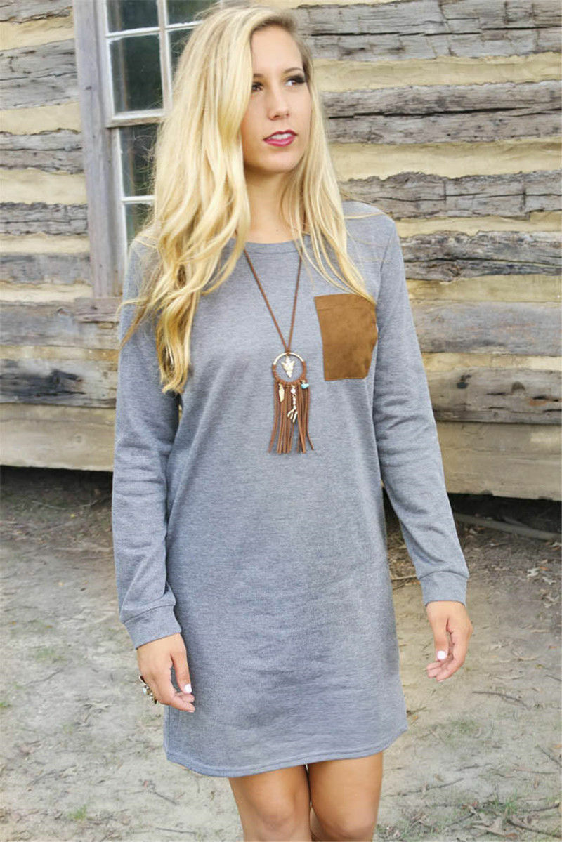Casual Loose Long Sleeve Round Neck Coclor Hit Tee Dress