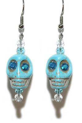 TURQUOISE BLUE STONE SKULL with CRYSTAL EYES HALLOWEEN DANGLE EARRINGS (H213) ()