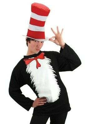 NEW Dr. Seuss The Cat In The Hat Halloween Costume T-Shirt & Hat Size Adult S/M