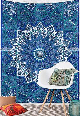 Twin Tapestry Star Elephant Mandala Bohemian Wall Hanging Boho Blue Decor Art for sale  Shipping to United States