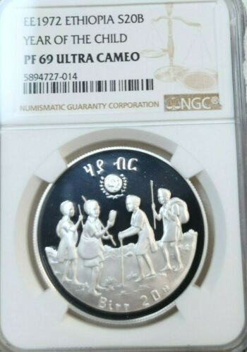 1979 ETHIOPIA SILVER 20 BIRR S20B YEAR OF THE CHILD NGC PF 69 ULTRA CAMEO