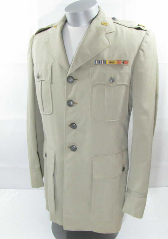 RARE Vintage WWII Korea USAF Air Force Major Khaki Uniform Jacket Ribbons HC