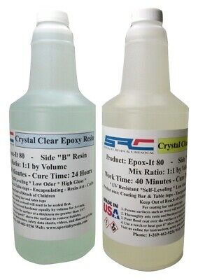 Epoxy Resin Crystal Clear 64 Oz Kit For Super Gloss Coating Bar Table Top