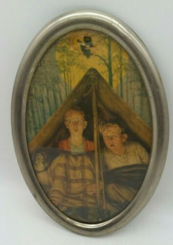 Antique Victorian Oval Framed Lithograph BOYS SCARED IN TENT Owl Tree Halloween