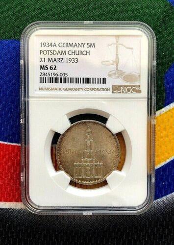 NGC MS 62 1934 A 5 Mark German WW2  SILVER  Garrisonkirche W/D 3rd Reich Coin