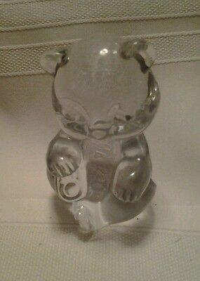 Fenton clear crystal glass sitting teddy bear.