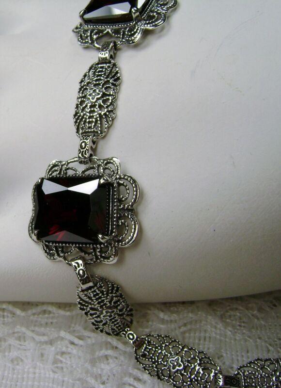 Garnet CZ Victorian/Art Deco Sterling Silver Filigree Bracelet {(Made To Order)}