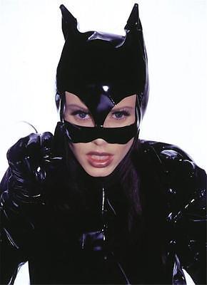 WOMENS CAT WOMAN KITTY SHINY BLACK VINYL HALF - Vinyl Catwoman Maske