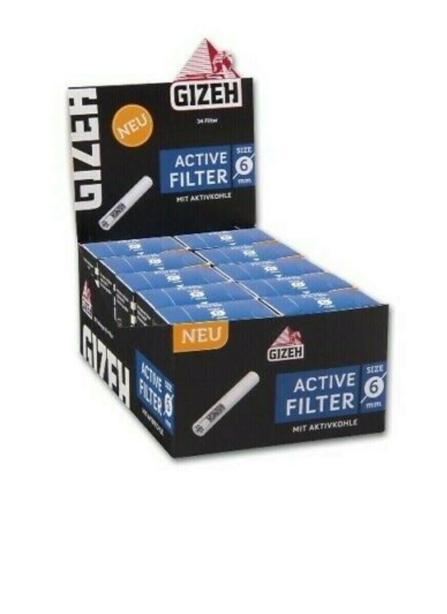 Gizeh Active Filter Slim 5x34Stk Aktivkohle Joint Tips Pfeifen- Zigarettenfilter
