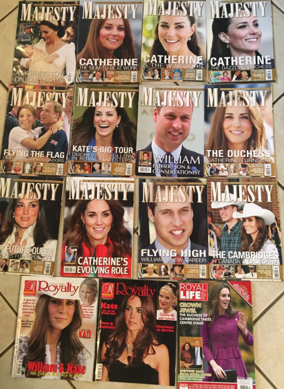 15 Majesty & Royalty magazines Kate, William & Baby Over Last 10 To 12 Years