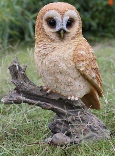 TAWNY OWL ON STUMP LARGE - Realistic Life Like Figurine Statue Home / Garden new