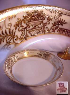ANTIQUE NORITAKE DECO SOUP BOWL FLEURGOLD RAISED GOLD RED MARK !