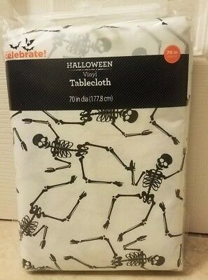 New Halloween Vinyl Tablecloth White Black Skeleton 70 in. Round - Round Halloween Tablecloth