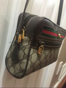 Gucci Brown Leather PVC Shoulder Bag