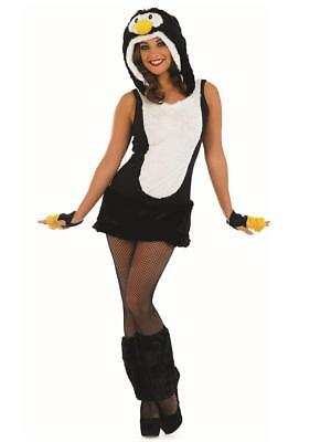 Ladies Sexy Fluffy Penguin Animal Xmas Fancy Dress Costume Outfit 8-22 Plus - Plus Size Penguin Costume