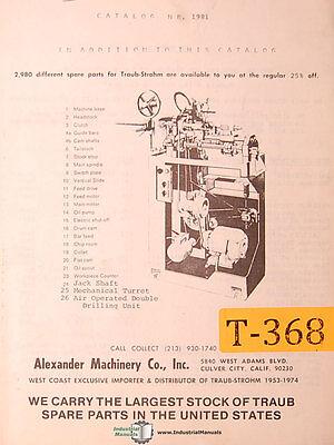 Traub N.r. 1981 Parts Illustations Manual 1981