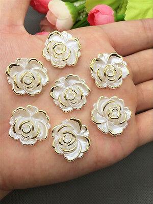 NEW DIY 10PCS 20MM Resin Flower flatback Appliques For phone/wedding/craft U