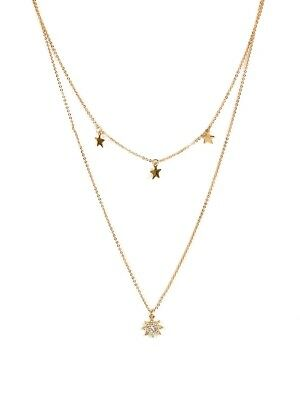 Emerald Tiger 'Sienna Row Of Stars' Multi Layered Necklace - Gold