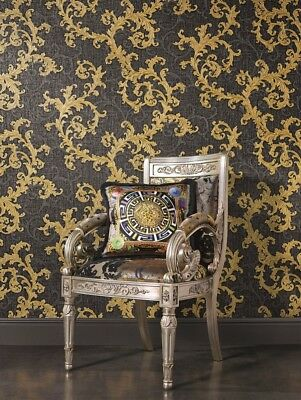 Grey Gold Versace Designer Wallpaper Damask Vinyl Swirl Floral Textured Embossed