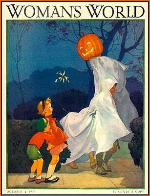 HALLOWEEN CHILDREN WOMAN'S WORLD MAGAZINE COVER 1936 VINTAGE REPRODUCTION - Halloween Kids Posters