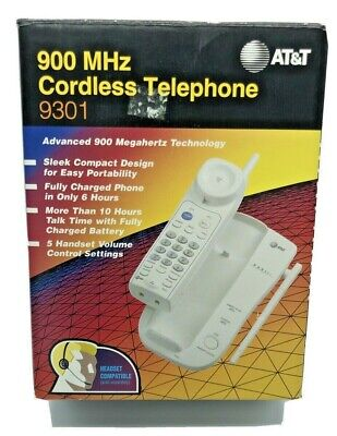 Vintage AT&T Cordless Telephone - 900 MHz Model 9301 White New In Box 900 Mhz Cordless Phones